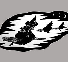 halloween witches on broomsticks night sky  by pollywolly