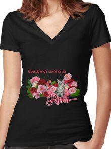 Rose Garden Kitty  Women's Fitted V-Neck T-Shirt