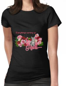 Rose Garden Kitty  Womens Fitted T-Shirt
