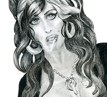 Amy Winehouse RIP, Graphite Portrait by Alma Lee by Alma Lee