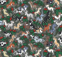 Green Holly Hounds by Elspeth Rose
