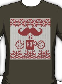 Santa's Stache Over Red Midnight Snack Knit Style T-Shirt