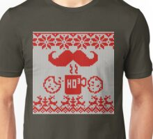 Santa's Stache Over Red Midnight Snack Knit Style Unisex T-Shirt