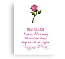 Beauty and the Beast Lyrics Canvas Print