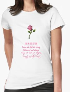 Beauty and the Beast Lyrics Womens Fitted T-Shirt