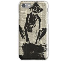 Stencil Of Gollum,Smeagol Over Old Dictionary Page iPhone Case/Skin