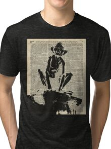 Stencil Of Gollum,Smeagol Over Old Dictionary Page Tri-blend T-Shirt