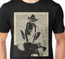 Stencil Of Gollum,Smeagol Over Old Dictionary Page Unisex T-Shirt