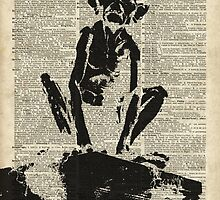 Stencil Of Gollum,Smeagol Over Old Dictionary Page by DictionaryArt