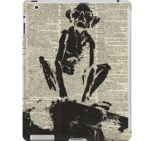Stencil Of Gollum,Smeagol Over Old Dictionary Page iPad Case/Skin