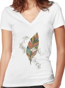 Plume & Flume  Women's Fitted V-Neck T-Shirt