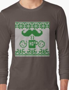 Santa's Stache Over Green Midnight Snack Knit Style Long Sleeve T-Shirt
