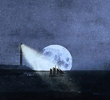 Across The Sea A Pale Moon Rises by Denise Abé
