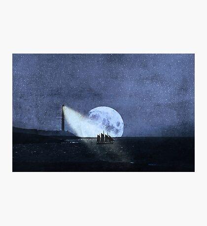 Across The Sea A Pale Moon Rises Photographic Print