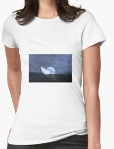 Across The Sea A Pale Moon Rises Womens Fitted T-Shirt
