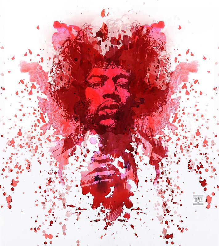Hendrix Watercolor by garthglaz