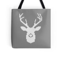 Deer Silhouette in Christmas Ugly Sweater Knitting Tote Bag