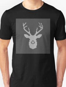 Deer Silhouette in Christmas Ugly Sweater Knitting T-Shirt