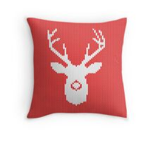 Deer Silhouette in Christmas Ugly Sweater Knitting Throw Pillow