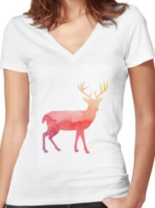 Stag antelope Women's Fitted V-Neck T-Shirt