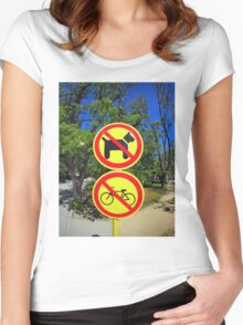Prohibiting signs no-dogs and no-bikes in the park Women's Fitted Scoop T-Shirt