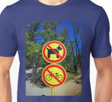 Prohibiting signs no-dogs and no-bikes in the park Unisex T-Shirt