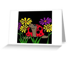 Cool Funky Turtle with Ladybug Shell and Colorful Daisies Greeting Card