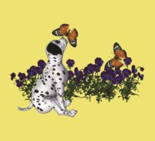 Dalmatian Puppy Butterflies Flowers Shirt by SmilinEyes