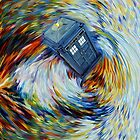 Blue Phone Booth jump into time Vortex art painting by Arief Rahman Hakeem