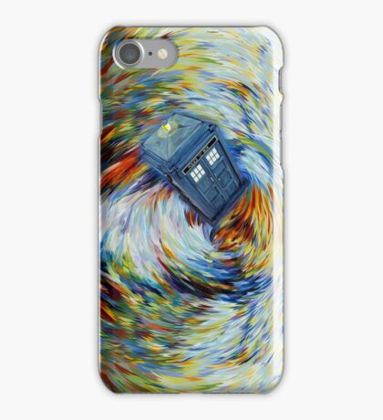 Blue Phone Booth jump into time Vortex art painting iPhone Case/Skin