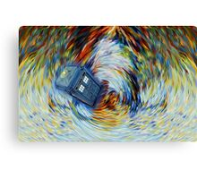 Blue Phone Booth jump into time Vortex art painting Canvas Print