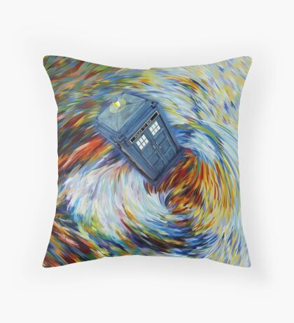 Blue Phone Booth jump into time Vortex art painting Throw Pillow