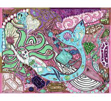 'Secret Treasures of the Fateful Mermaid ~ Pink Mint Glow' Pieces Art™ Photographic Print