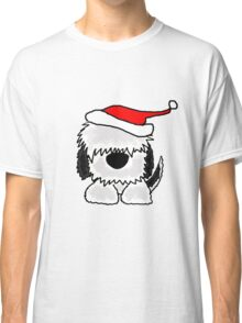 Funny Cool Old English Sheepdog with Santa Hat Christmas Classic T-Shirt