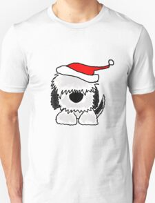Funny Cool Old English Sheepdog with Santa Hat Christmas T-Shirt
