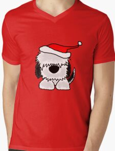 Funny Cool Old English Sheepdog with Santa Hat Christmas Mens V-Neck T-Shirt