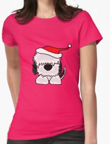 Funny Cool Old English Sheepdog with Santa Hat Christmas Womens Fitted T-Shirt