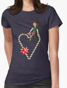 Girl Elf Candy Cane Heart Holiday Shirt T-Shirt