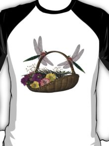 Dragonflies Wicker Flower Basket Shirt T-Shirt