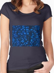 Defocused and blur image of garland of blue LED lights Women's Fitted Scoop T-Shirt