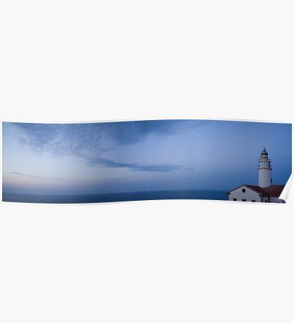 Lighthouse at sunset - panorama Poster