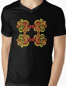 Swirly Fire Mens V-Neck T-Shirt