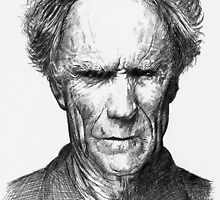 Bic Drawing of Clint Eastwood by Jan Szymczuk