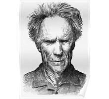 Bic Drawing of Clint Eastwood Poster