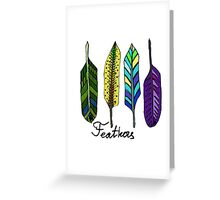 Hand drawn ink feathers set. Greeting Card