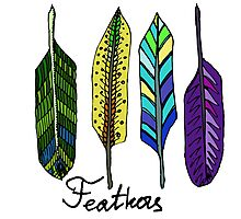 Hand drawn ink feathers set. Photographic Print