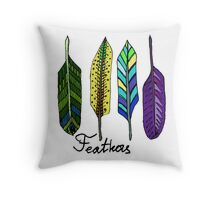 Hand drawn ink feathers set. Throw Pillow