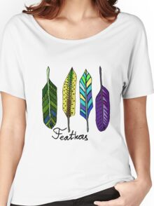Hand drawn ink feathers set. Women's Relaxed Fit T-Shirt