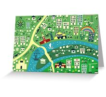 Cartoon Map of Moscow Greeting Card