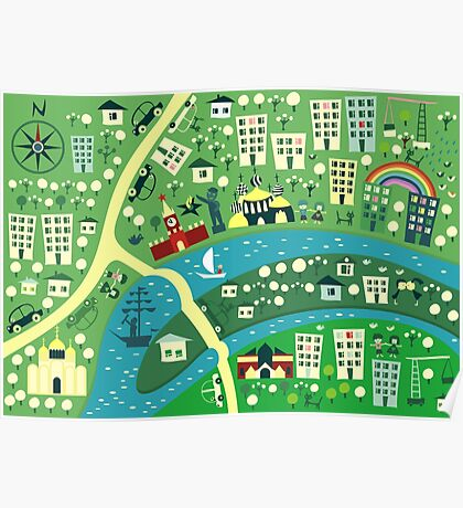 Cartoon Map of Moscow Poster